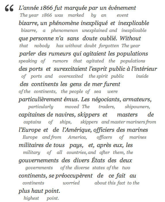Interlinear translation example, Jules Verne, paragraph 1