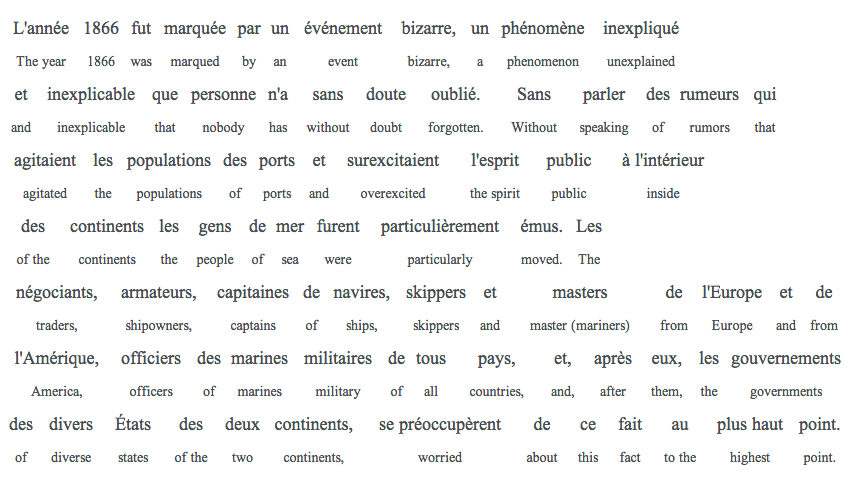 interlinear, julles verne, paragraph 1, translation, example