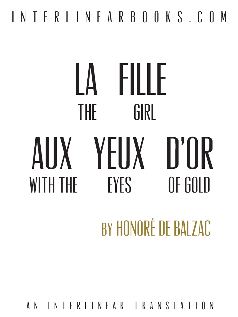 French book: La Fille aux yeux d'or