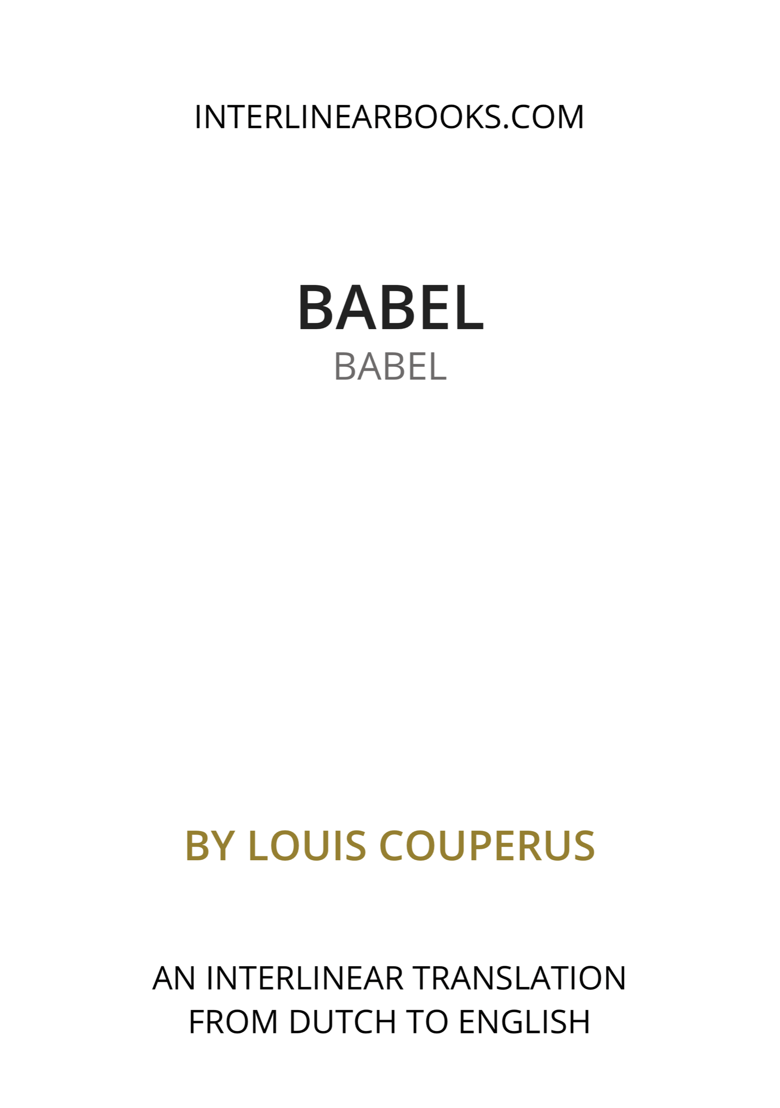 Dutch book: Babel / Babel