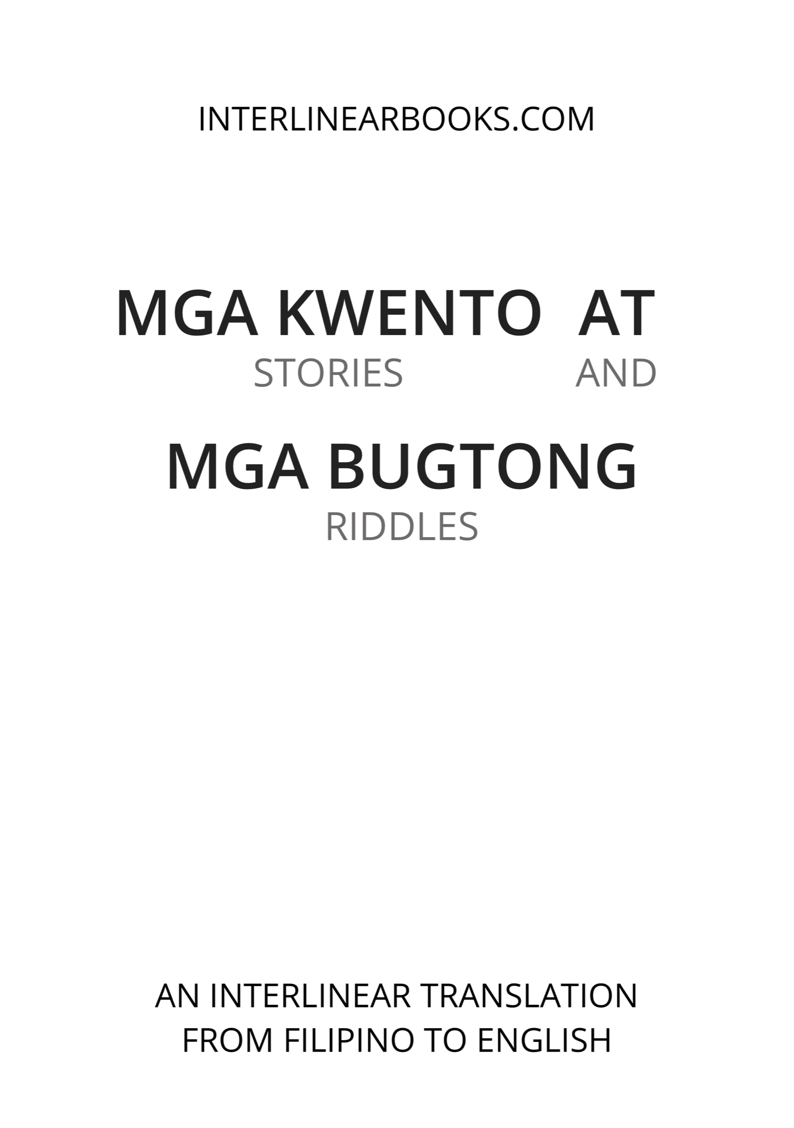 Filipino book: Mga Kwento at Mga Bugtong / Stories and Riddles