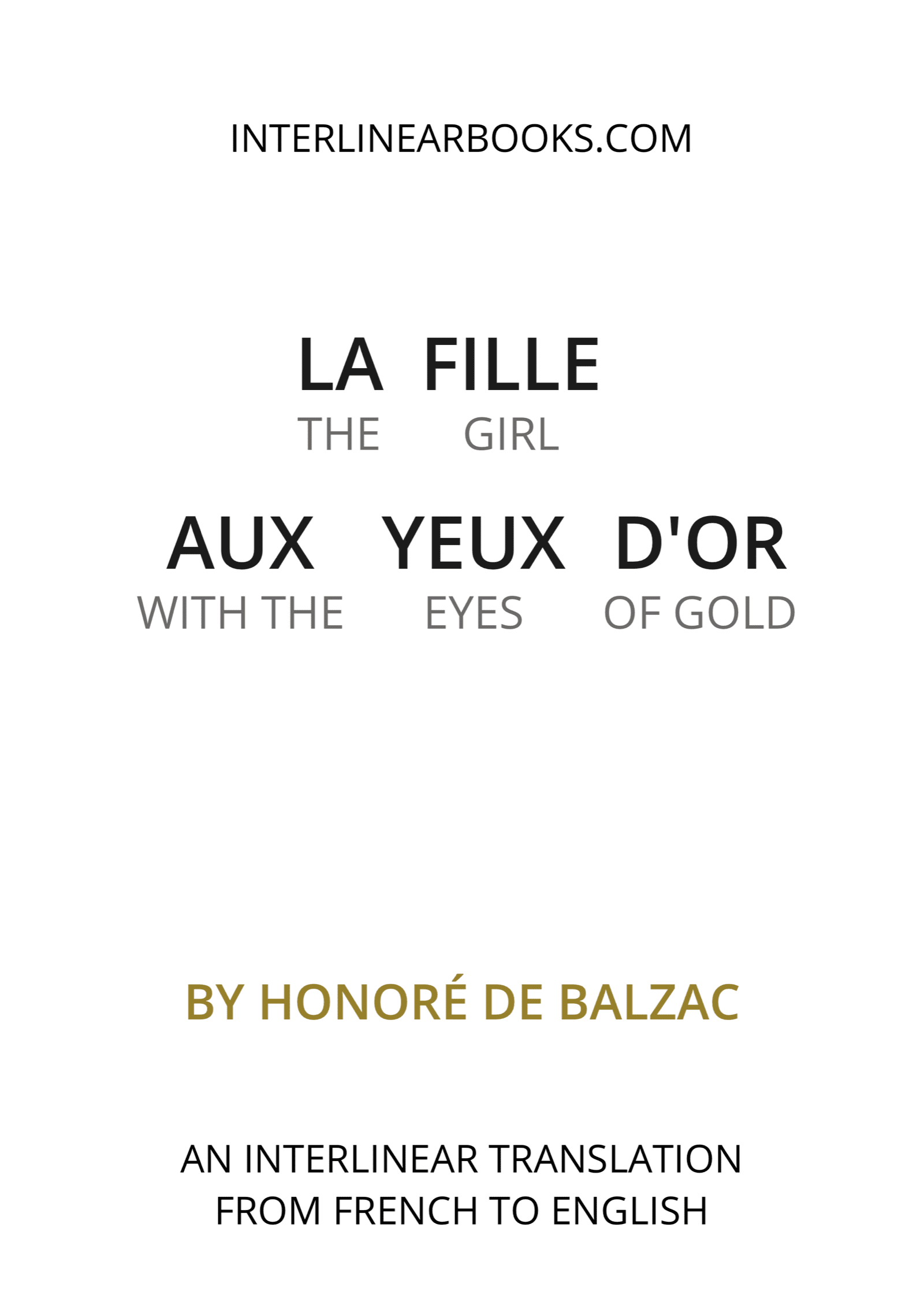 French book: La fille aux yeux d'or / The Girl With The Golden Eyes