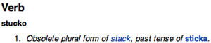 stack definition in Swedish, declaring it is obsolete
